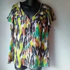 East 5th XL button up short sleeve print blouse